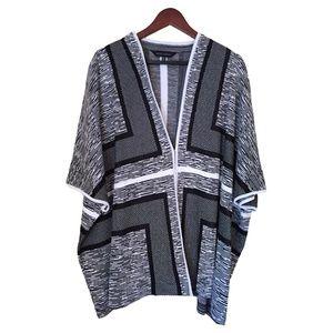 Ming Wang Black & White Jacket Shawl  Plus Size 2x